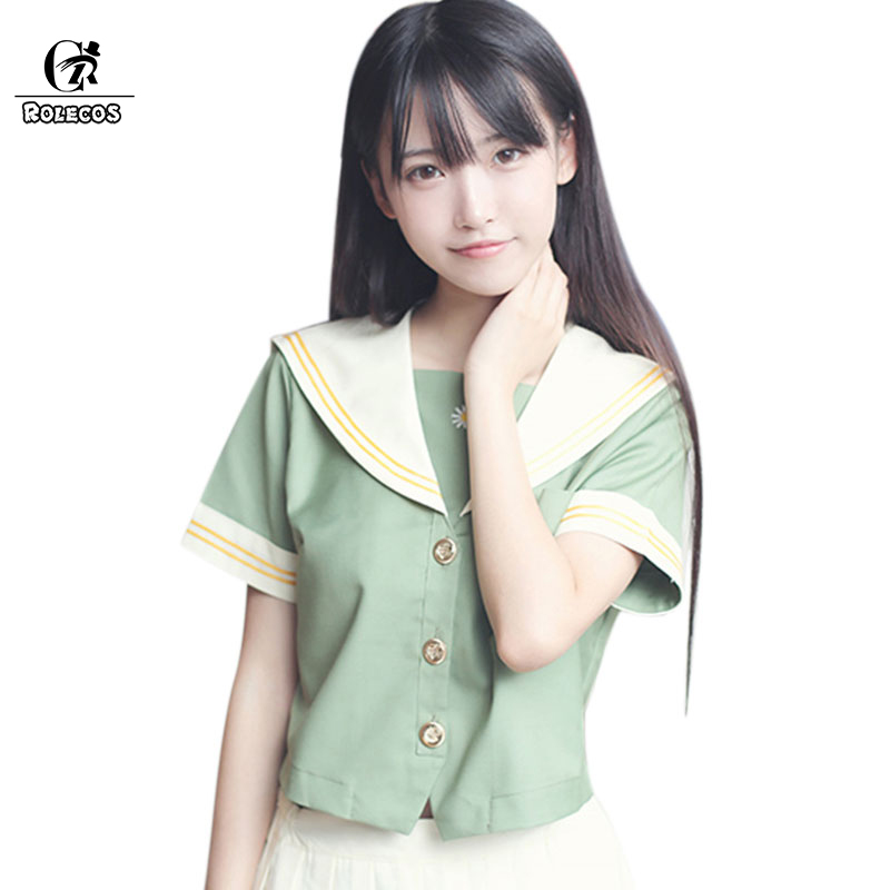 ROLECOS Hot New Woman Sailor Suit Light Green Juniors Japanese Cosplay Costumes School Uniform school of art for juniors saj