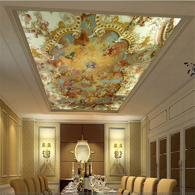 beibehang Custom photo wall paper ceiling fresco ceiling painting European hotel KTV 3d mural wallpaper for walls contact paper 3d large custom wallpapers mural ceiling zenith high quality european painting hotel bar ktv clubs ceiling floor wall paper