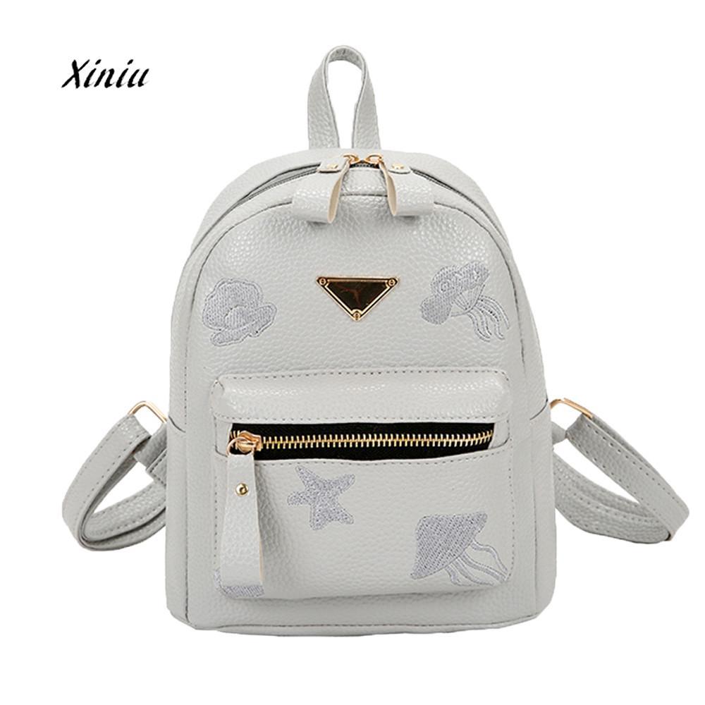 fdfe728e7327 US $7.08 32% OFF|Women Girl School Bag Fashion Leather Travel Small  Backpack Satchel Shoulder Rucksack Backpack For Teenage Girls Camera Bag-in  ...