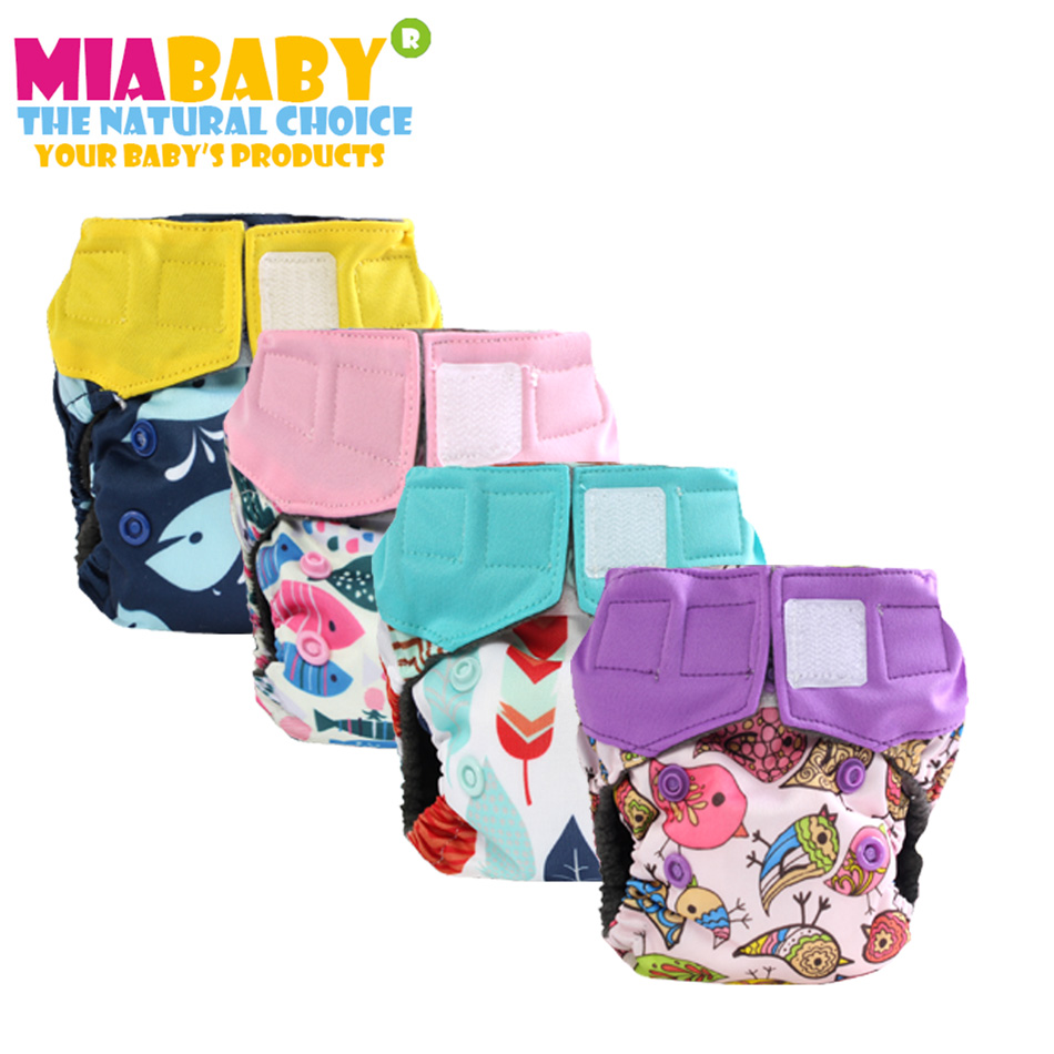 Miababy( 5pcs/lot) Newborn Charcoal Bamboo AIO Cloth Diaper ,double Leaking Guards, Fits 0-3months Baby Or 6-19 Lbs