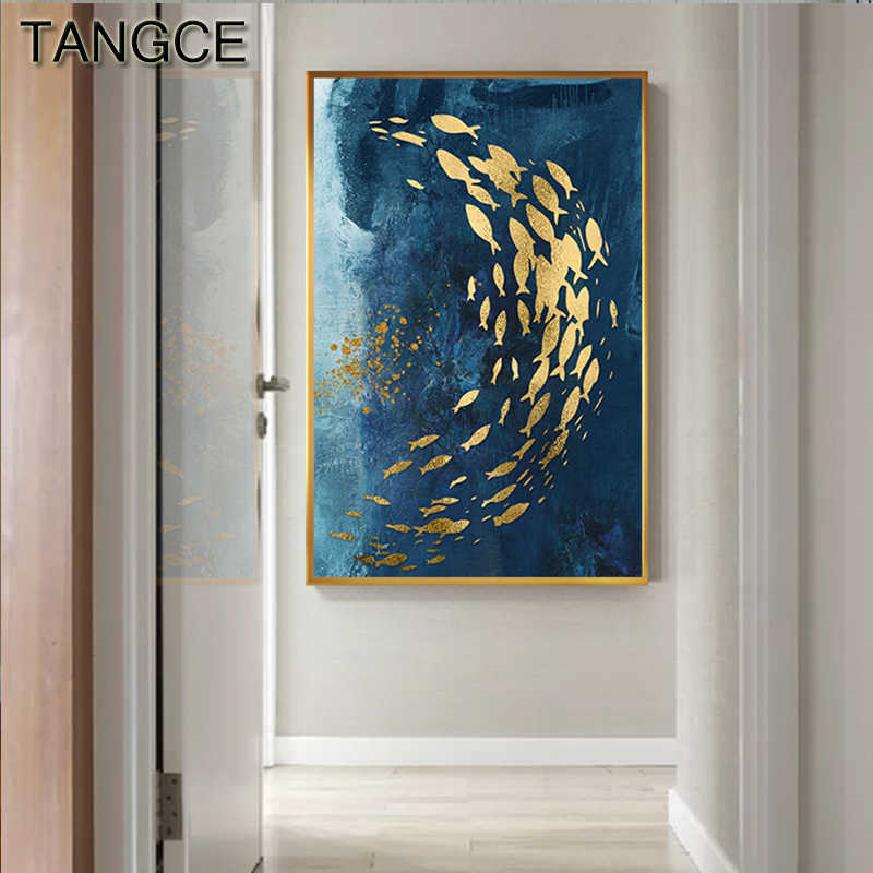 Abstract Gold Fish Chinese Canvas Painting Big Blue Poster Print Luxurious Wall Art For Living room Aisle Gold tableaux Picture