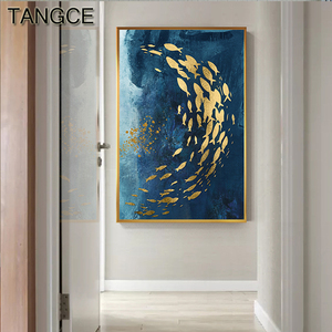 Abstract Gold Fish Chinese Canvas Painting Big Blue Poster Print Luxurious Wall Art For Living room Aisle Gold tableaux Picture(China)