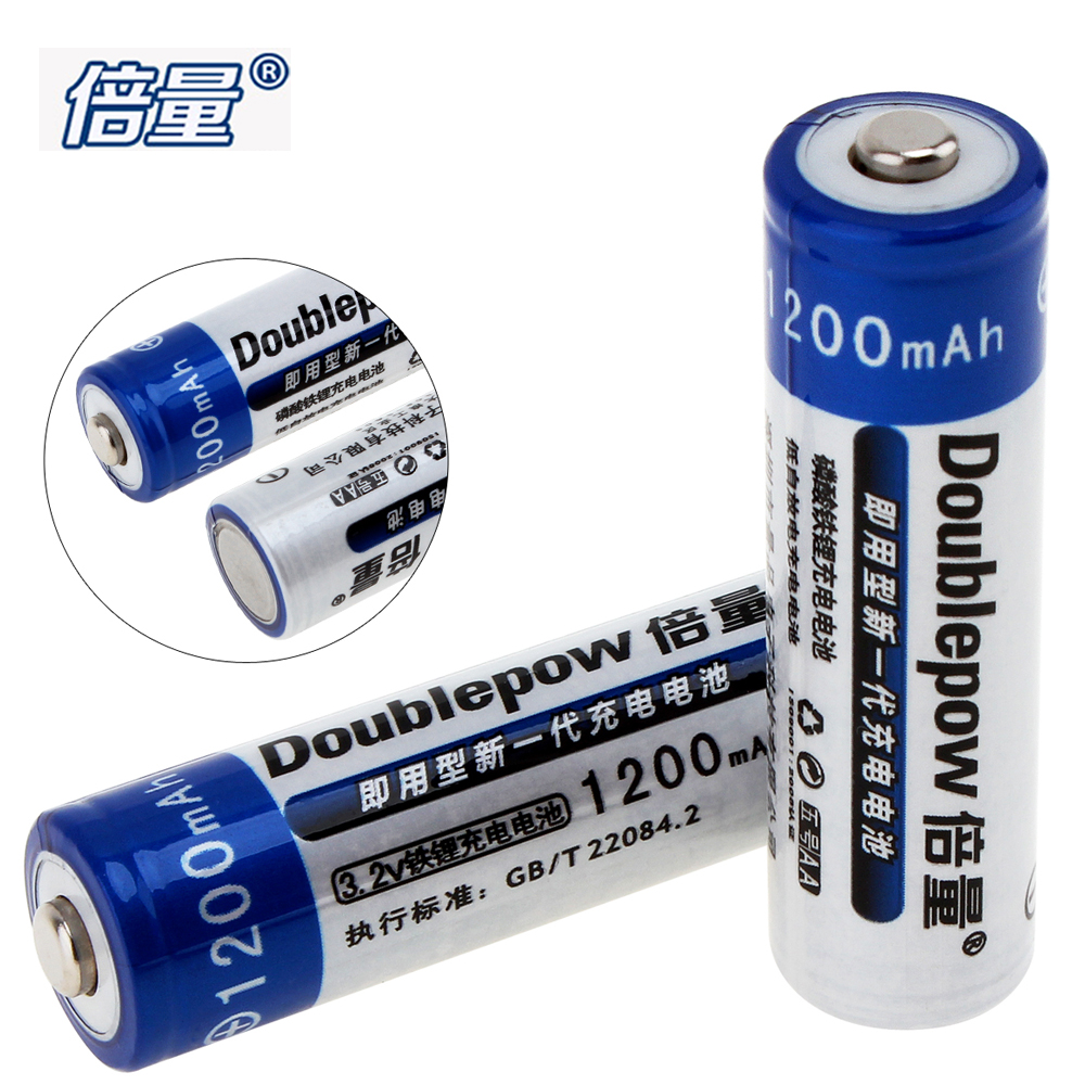 2pcs doublepow 14500 aa battery 1200mah 3 2v lifepo4 aa rechargeable battery with 3a charging. Black Bedroom Furniture Sets. Home Design Ideas