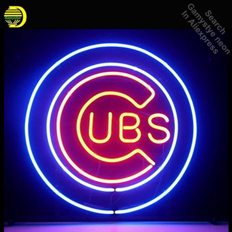 Neon Sign for Sports Unions Cubs Team LOGO Neon Bulb sign handcraft Glass tube Dropshipping vintage personalized neon lights andrew lee cubs time