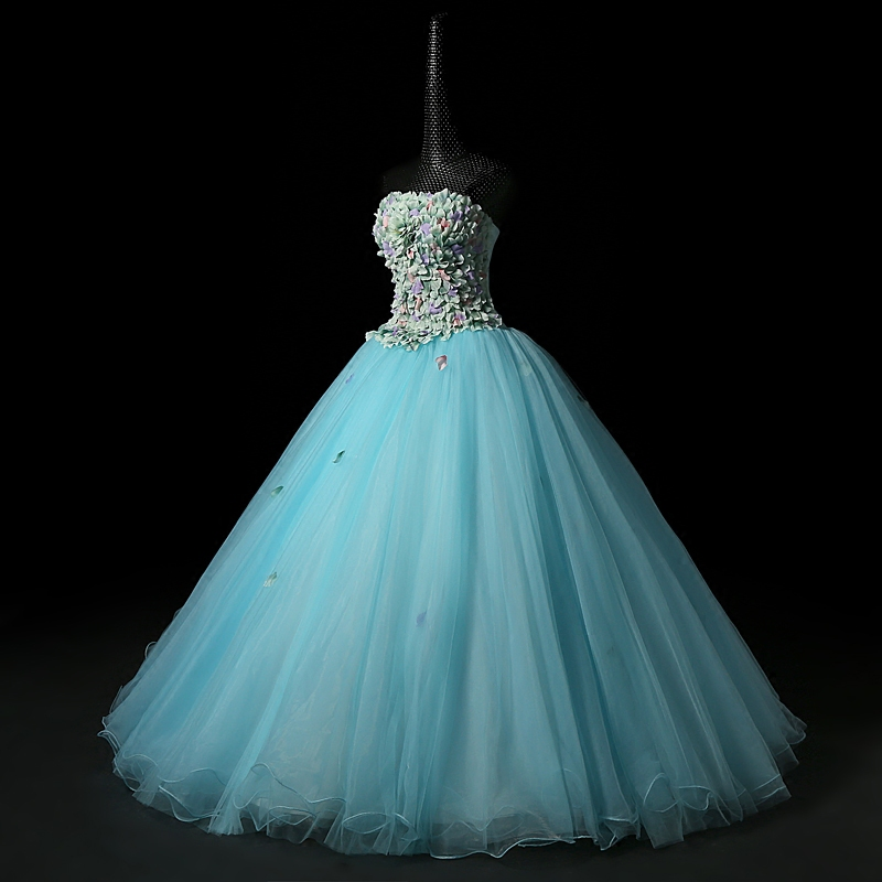 ✅100%real light blue full petals off shoulder court ball gown ...