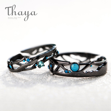 Thaya CZ Milky Way Black Rings Blue Bright Cubic Zirconia Rings 925 Silver Jewelry for Women Lover Vintage Bohemian Retro Gift thaya facing the sea rings blue zirconia rings 925 silver jewelry for women lover wedding gift