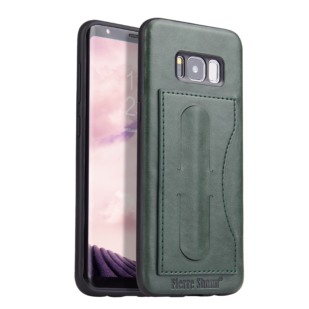 For Samsung Galaxy S8 S9 S9+ PLUS Genuine Leather Stand Card Holder Cover Case