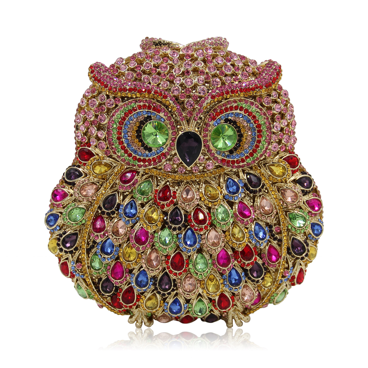 Luxury Brand Rhinestone Evening Bags Women Owl Crystal Clutch Bag Female Fashion Party Clutches Animal Printed Handbags Purses 2017 luxury flower evening bag handmade diamond clutch bags women crystal butterfly handbags party velvet clutches purses jxy784
