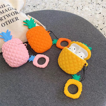 3D Cute Fruit Pineapple Earphone Case For Airpods 2 1 Shockproof Silicone Cartoon Wireless Cover with Finger Ring Strap
