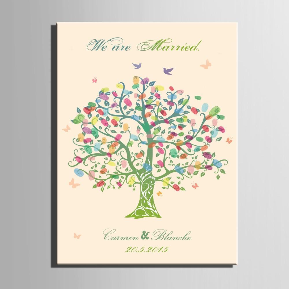 Impronte digitali albero firma tela pittura albero di colore regalo - Per vacanze e feste