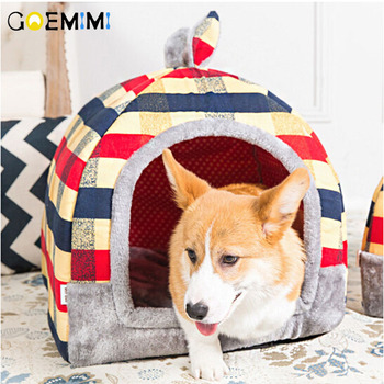 Hond Huis Warme Zachte Huisdier Bed Opvouwbare Dual-gebruik Waterdichte Bodem Leuke Vorm Cartoon Print Kennel huis Voor Kat