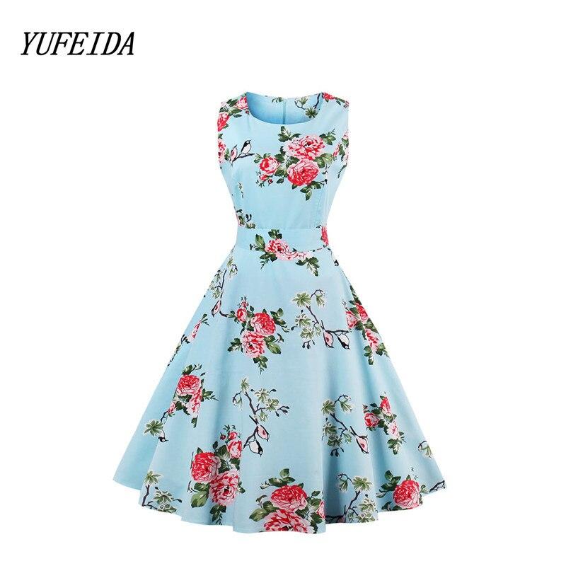 Hot Plus Size Dress Sleeveless Halter Sexy Flowers Print Dresses 2017 Summer Blue Vintage Evening Party Dress for Women