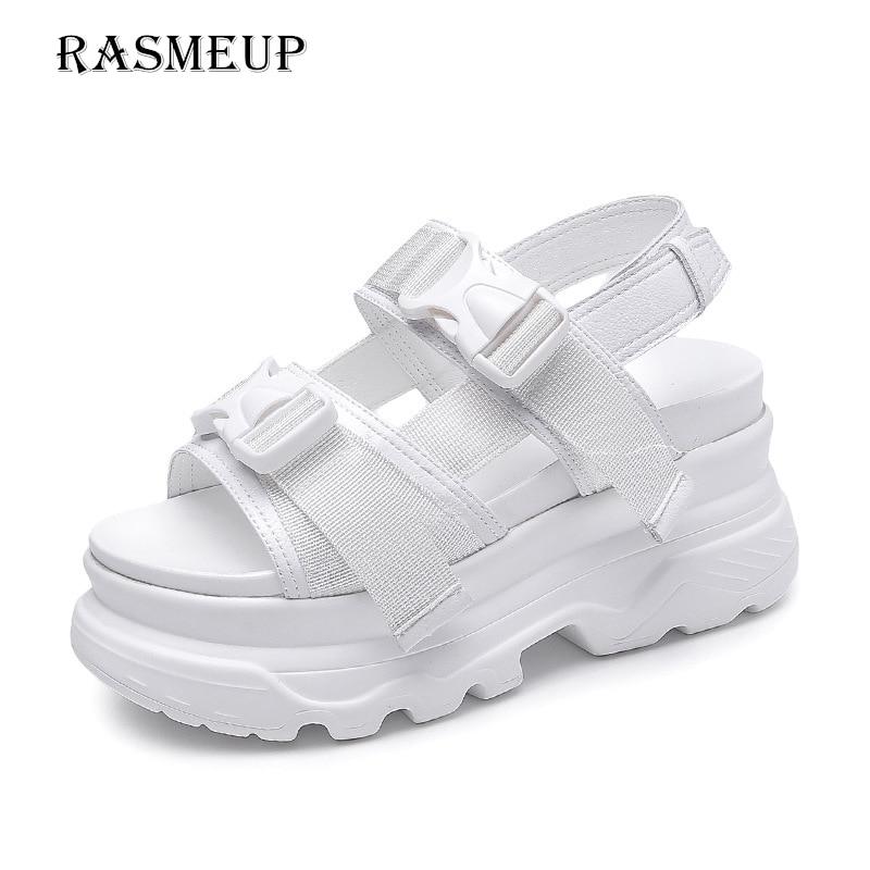 RASMEUP на платформе в римском стиле Для женщин сандалии 2018 модные летние кожаные пряжки Для женщин толстой подошве пляжные сандалии повседнев...