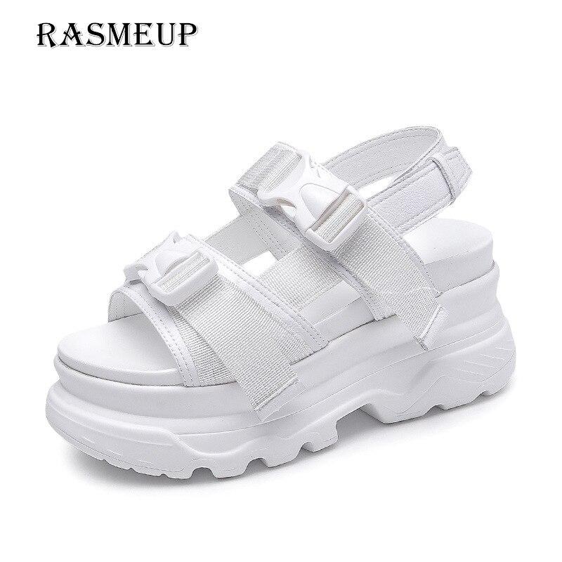 RASMEUP plataforma Roma sandalias de las mujeres 2018 moda verano cuero hebilla mujeres suela gruesa sandalias de playa Casual zapatos de mujer