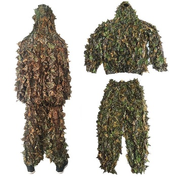 Men Women Kids Outdoor Ghillie Suit Camouflage Clothes Jungle Suit CS Training Leaves Clothing Hunting Suit Pants Hooded Jacket 4