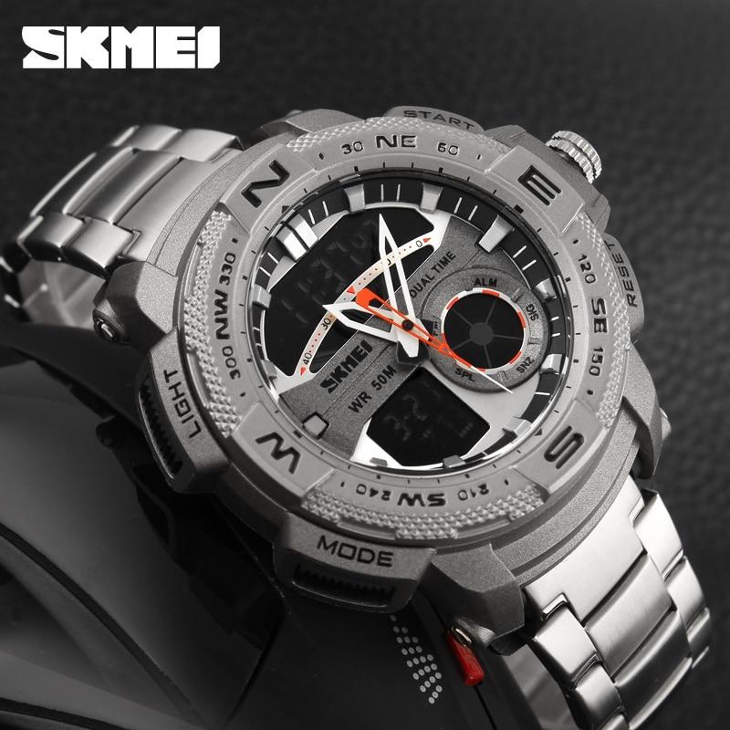 купить New 2016 SKMEI Outdoor Sports Watch Men Digital Quartz Watches Waterproof Alarm Chrono Stop Watch Back Light Analog Wristwatch по цене 1353.15 рублей
