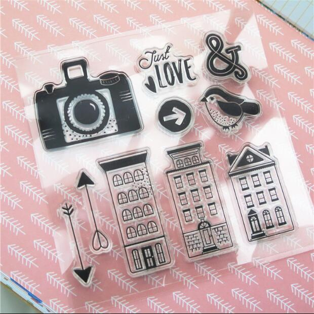 Scrapbook DIY Photo Album Card Rubber Chapter Transparent Seal Camera house Clear Stamp 33 wyf1017 scrapbook diy photo album cards transparent silicone rubber clear stamp 11x16cm camera
