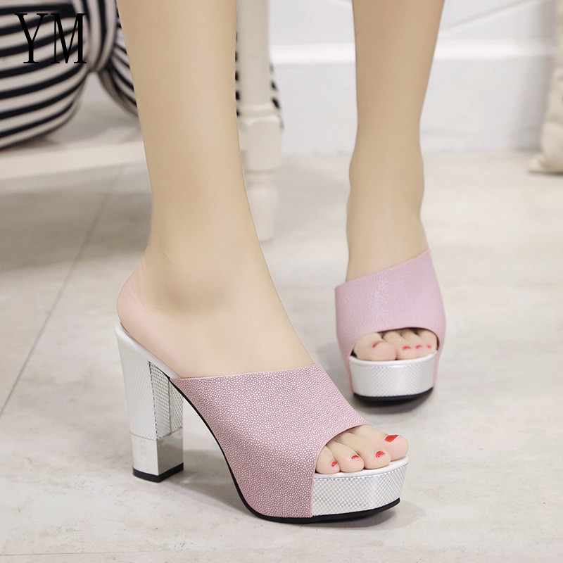 Fashion Summer Women Elegant Pink High Heel Sandals Peep Toe Platform Shoes Sexy Crystal Chunky Heel Shoes Lady Thick Heel 34-39