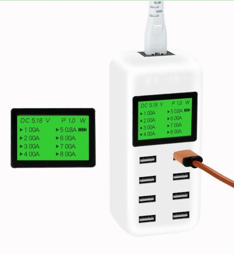 Tinhofire 8 Порты и разъёмы smart <font><b>usb</b></font> Зарядное устройство концентратора с ЖК-дисплей 40 Вт Multi-Порты и разъёмы зарядка через <font><b>USB</b></font> станции ЕС, США, Великобр&#8230;