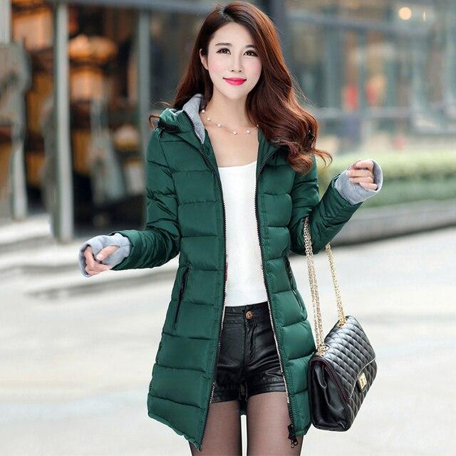 2018 women winter hooded warm coat plus size candy color cotton padded jacket female long parka womens wadded jaqueta feminina 2
