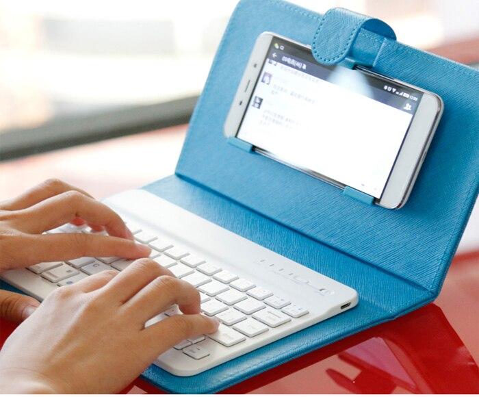 Цена за Ультра Тонкий Универсальный Беспроводная Bluetooth Клавиатура Для Мобильного Телефона Портативный Клавиатура Leather Case for iPhone 4S 5 5S SE 6 6s Плюс