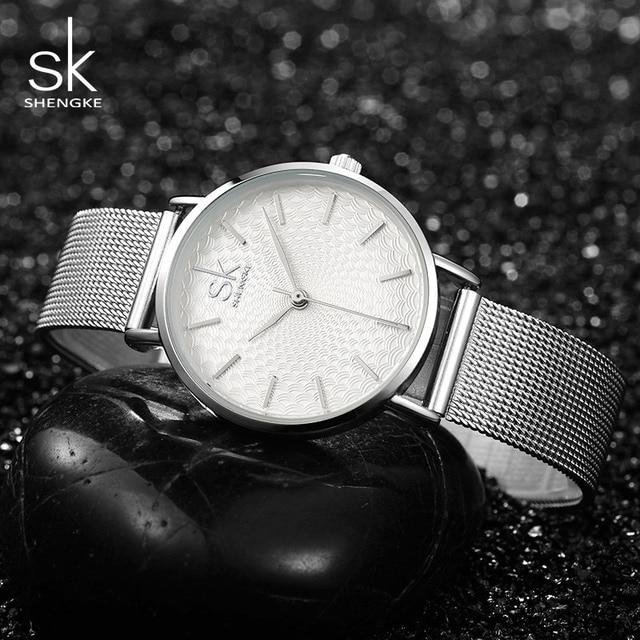 Women's Super Slim Silver Mesh Wrist Watch 4