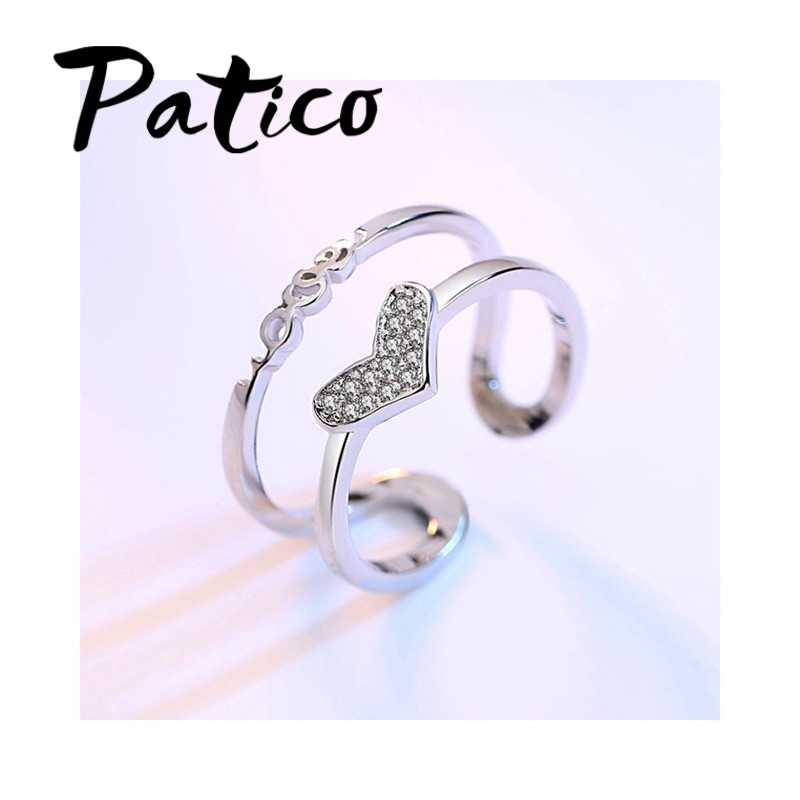 น่ารักออกแบบใหม่ผู้หญิงแฟชั่น Heart Shape 925 เงินสเตอร์ลิง AAA Cubic Zirconia คริสตัลแต่งงานแหวนขายส่ง