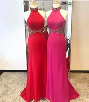 African Halter Floor Length Sweep Train Mermaid Prom Dress Off Shoulder Prom Dress Two Colors Satin