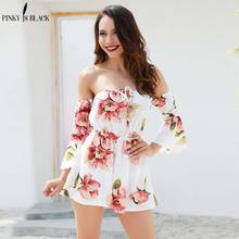 PinkyIsBlack Off shoulder floral print jumpsuit romper women Sexy lace up flare sleeve short playsuit Casual beach summer 2018 off shoulder floral embroidery romper