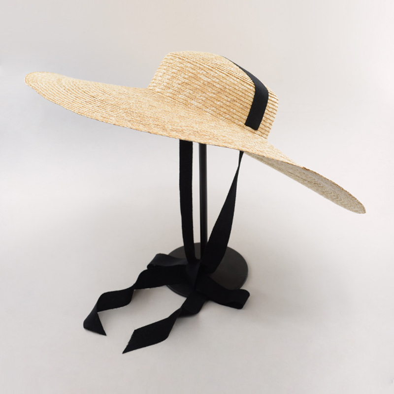 2018 Women Big Brim Boader Sun Hat With Ribbon Fashion Ladies' Retro Wide brim Natural Wheat Straw Beach Hat for Holiday Vacatio wide brim straw hat