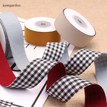 Kewgarden Double Face Plaid Polyester Cotton Satin Ribbons Handmade Tape DIY Bowknot Ribbon Packing Riband  5 meter kewgarden handmade tape 1 1 2 38mm thick soft cotton fabric satin ribbon diy bow tie brooch ribbons double face riband 8 meter