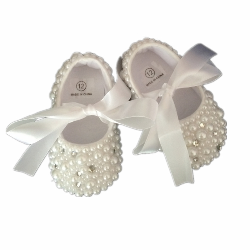 Dollbling Christening Pearls Rhinestones Clear Crystal Baby Shoes Custom Buyer White Ribbon Match Magic Childhood Keepsake