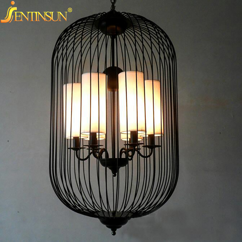 Chinese Style Iron Birdcage Pendant Lights Lamp Loft Vintage Wrought Iron Bird Cage LED Light Hanging Lamps For Villa Restaurant new loft vintage iron pendant light industrial lighting glass guard design bar cafe restaurant cage pendant lamp hanging lights