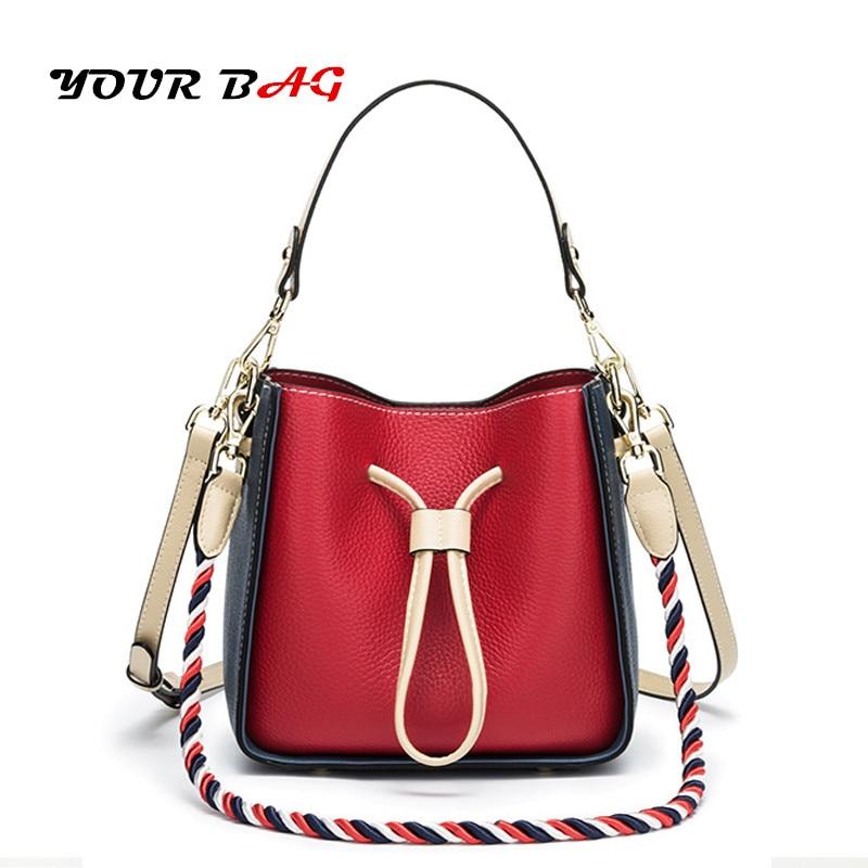UBAG bags for women 2018 luxury ladies handbags designer clutch shoulder Bucket bag PVC leather drawstring bag Hand-rope sling
