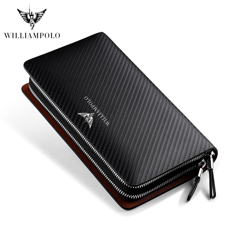 Business Men Clutch Bags Brand Genuine Leather Blue Fashion Zipper Long Wallet Phone Credit Card Holders