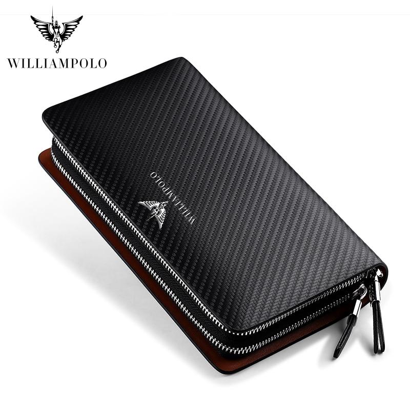 Business Men Clutch Bags Brand Genuine Leather Blue Fashion Zipper Long Wallet Phone Credit Card Holders Handbag Pl170