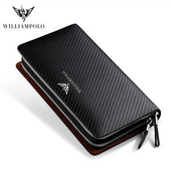 Business Men Clutch Bags Brand Genuine Leather Blue Fashion Zipper Long Wallet Phone Credit Card Holders Handbag pl170 - DISCOUNT ITEM  63% OFF All Category