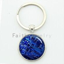 computer circuit board keychain blue power circuit breaker pcb key chain best man jewelry geek boyfriend gift KC557