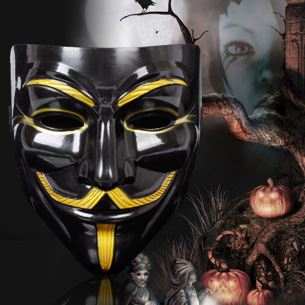 Anonymous V PER VENDETTA Maschera GUY FAWKES Halloween Fancy Dress Party UK