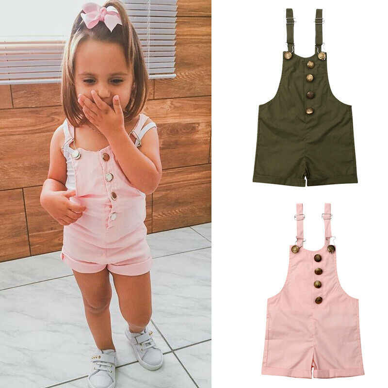 1-6Y Toddler Kids Baby Girls Overalls Solid Sleeveless Button Romper Jumpsuit Summer Clothes Outfit 1-6Y
