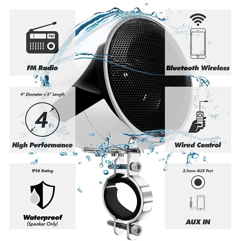 Ensemble Audio moto aijump M150 avec amplificateur stéréo 2ch, haut-parleurs étanches 4 pouces, Bluetooth, Radio FM, AUX MP3 (Chrome) - 2
