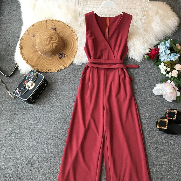 ALPHALMODA 2019 Spring Ladies Sleeveless Solid Jumpsuits V-neck High Waist Sashes Women Casual Wide Leg Rompers 43