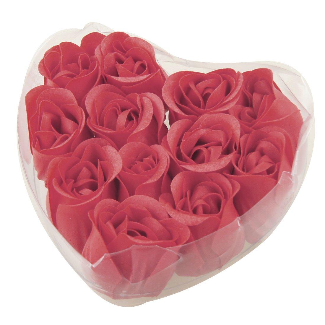 New 12 Pcs Red Fragrant Rose Bud Petal Soap Wedding Favor + Heart Shape Box