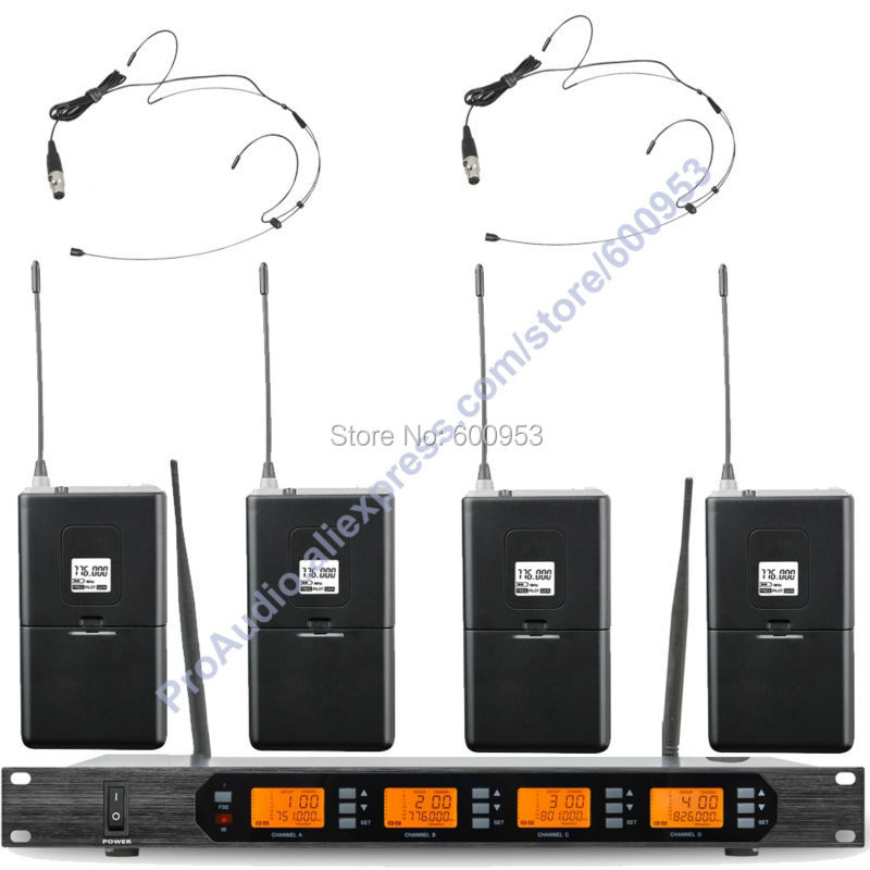 MICWL Audio M400-4C UHF 400 Channel Digital Wireless Microphone Mic System 4 Mini Black Headworn Headset Mike