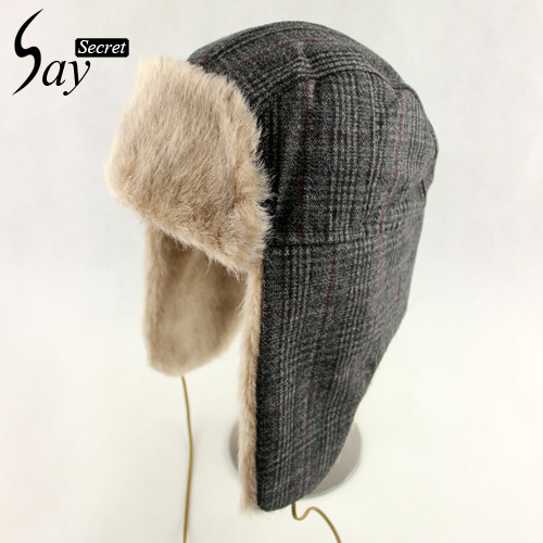 Winter Hats Male Faux Fur Wire Cap Ear Cover Thermal Head Outdoor Skiing Hat  Plaid Trapper Hat for Cold Weather McbaZel 2d9244d7e9a