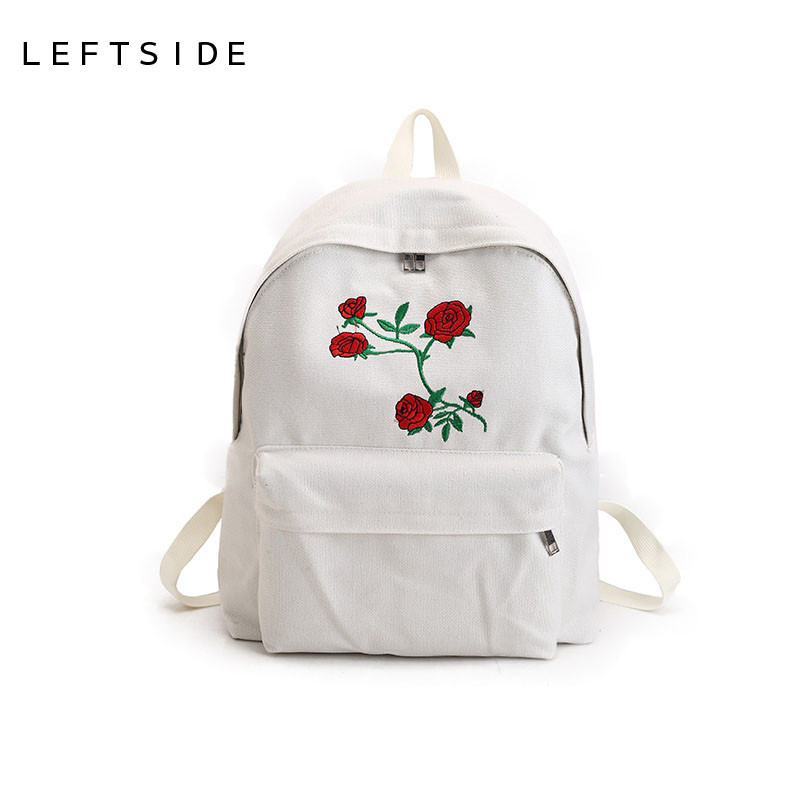LEFTSIDE New Harajuku Rose Red crowned Crane Embroidery printing Backpack Women Travel Backpack Students Canvas Shoulder