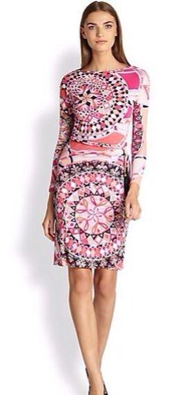 Beautiful pink print elegant sweet fancy belt slim elastic knitted one piece dress