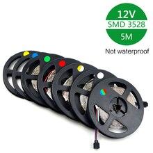 RGB şerit Led ışık şeritleri RGB Led bant/şerit SMD3528 Led şeritler çubuğu 12V şerit no su geçirmez 5M/Rulo Led noel ışıkları