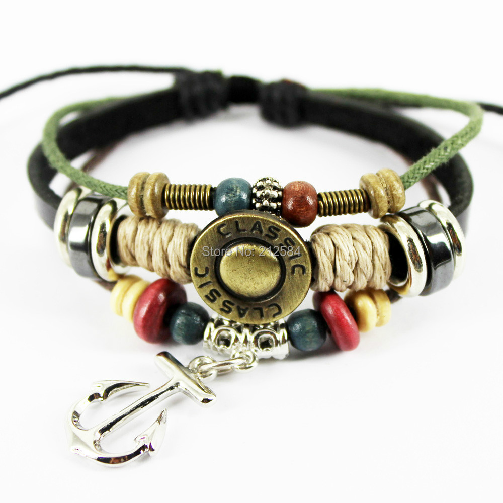 A182 Anchor Charm Fashion Surfer Hemp Leather Bracelet Wristband Women Men  Multilayer Wrap Leather Bracelet Unisex