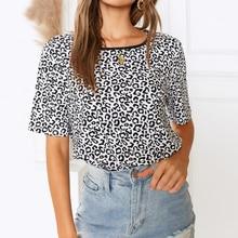 купить Sexy O-Neck Leopard Print Women T-Shirt Short Kawaii Harajuku Female T Shirt 2019 Summer Fashion Tops Casual Beach Clothing дешево